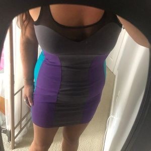 NWOT Gray, Purple, Aqua Bodycon Sexy Dress - Sz L